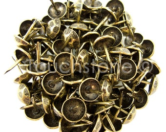 """100 Pack Antique Brass Oxford Hammered Nail Tacks 1/2"""""""