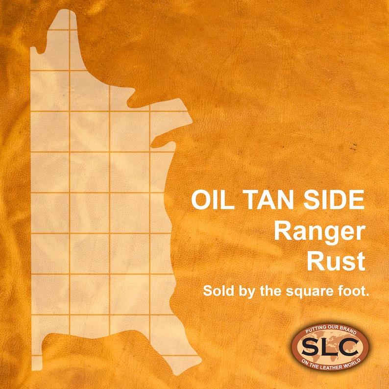 Pre-Cut Square Sheet Ranger Rust SLC Oil Tan Cowhide Leather Piece