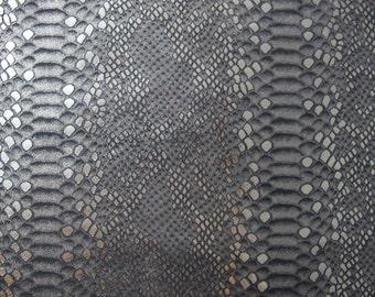 "Leather Piece - Metallic Grey & Black Snake Print - Cowhide Leather 12"" x 12"""