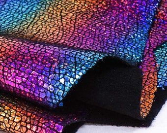 Cosmic Rainbow Galaxy Finished Suede (By the Square Foot)