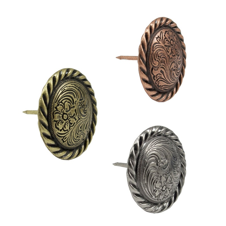Springfield Leather Company Antique Brass Rope Edge Swirl Upholstery Tack 10 Pack