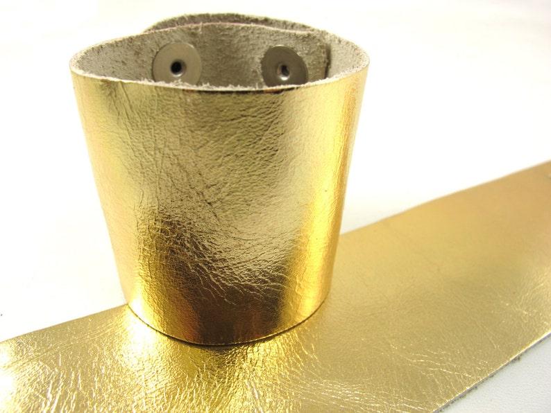 Metallic Gold Leather Cuff Bracelet 2 Wide