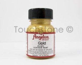 Gold Angelus Acrylic Leather Paint 1oz Bottle