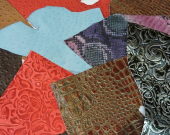 10 pack Assorted Pieces High Embossed & Printed Leather Pieces Assorted Sizes. Scrap. Pieces.