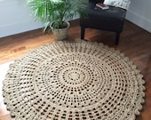 Giant crochet doily rug (54 in, 137 cm) jute rug, rope rug, mandala rug, crochet round rug, outdoor rug--MADE TO ORDER