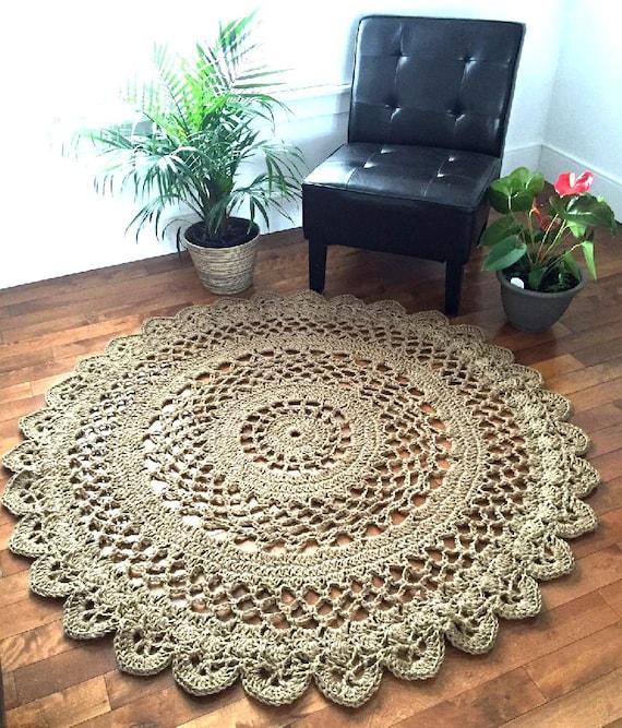Giant Crochet Doily Rug 57 In 147 Cm Jute Rug Rope Rug Etsy