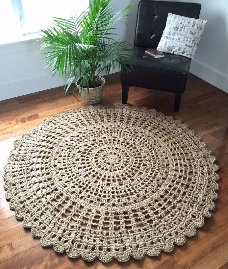 Giant Crochet Doily Rug 54 In 137 Cm Giant Jute Rug Rope Etsy