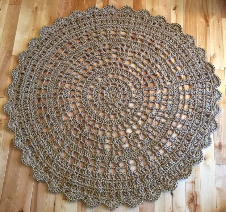 Giant Crochet Doily Rug 48 In 122 Cm Jute Rug Rope Rug Etsy