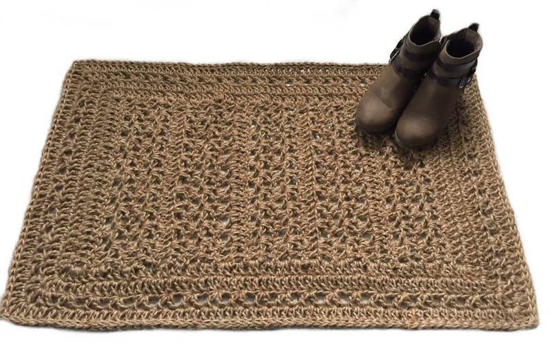 Tapis De Jute Au Crochet Tapis De Jute En Fibre Naturelle Etsy
