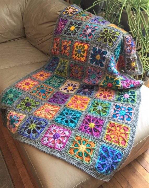 Häkeln Sie Afghan graue Decke Kaleidoskop Oma Platz 44 x