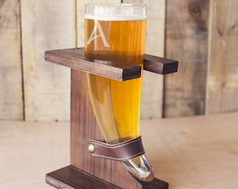 Glass Beer Horn With Wood Stand   Groomsmen Gift   Gift for Man   Gift for Groomsmen   Guy Gift   Beer   Engraved   Unique   Personalized