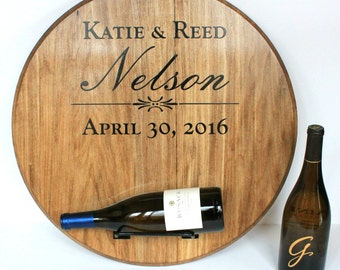 Wine barrel wedding card holder engraved with names and etsy wedding wine bottle display sign personalized with names wedding date crafted from wine barrel head wedding guest signature board altavistaventures Gallery