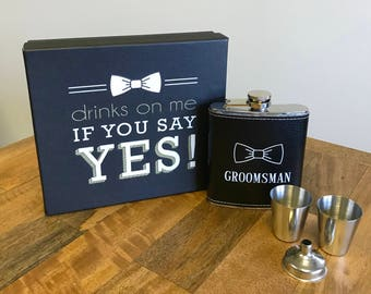 Groomsmen Gift Flask and Shot Glass Set, Will You Be My Groomsman? Leather Flask & 1oz. Shot, Black or Brown Leather, Custom Bowtie Design