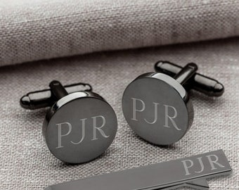 Gunmetal Cufflinks and Tie Clip Set | Round | Personalized Groomsmen Gift | Custom Engraved Cuff Links & Tie Bar Set for Groom | Gift Boxed