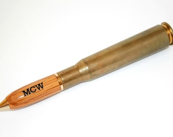 Groomsmen Gift .50 Caliber Bullet Pen - Whiskey Barrel Wood Tip - Gift for Man - Father's Day Gift - Engraved Gift for Men - Groom Gift
