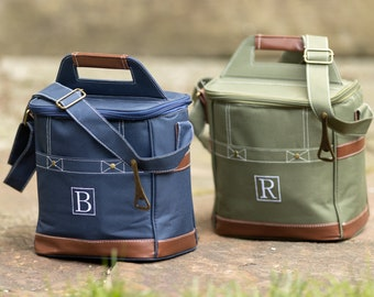 6-Pack Cooler Groomsmen Gift, Personalized Gift for Men, Blue or Green, Custom Bridesmaid Cooler, Golf Cooler, Lunch Cooler Bag, Guy Gift