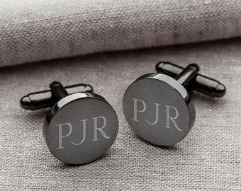 Gunmetal Round Groomsmen Cufflinks | Personalized Groomsmen Gift | Engraved Custom Cuff Link Set for Groom, Husband, Men | Gift Boxed