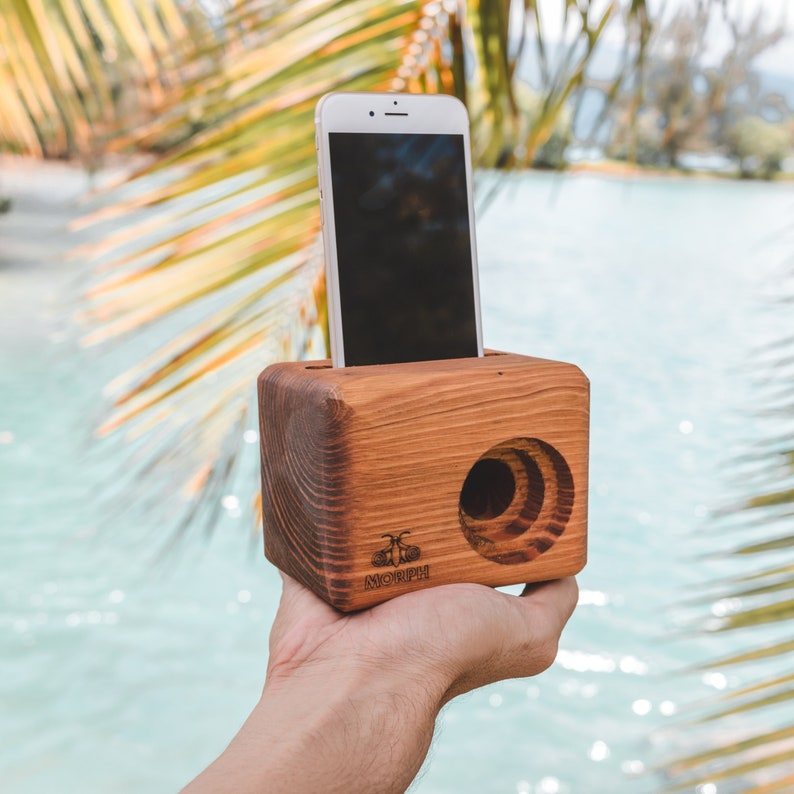 MORPH Wooden Cell Phone Speaker  Engraved  Unique Gift for image 0