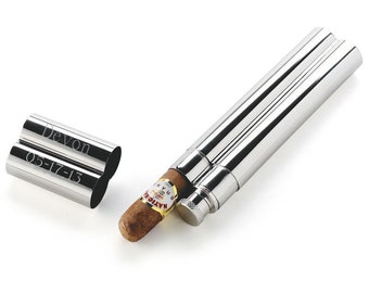 Groomsmen Gift Flask and Cigar Holder | Personalized Cigar Tube | Engraved | Unique Gift for Boyfriend, Frat Brother and Bachelor Party