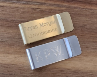 Classic Money Clip Engraved | Personalized Groomsmen Gift | Silver or Gold | Father's Day Gift | Gift for Men | Guy Gift | Birthday Gift Him