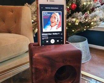 BEAT BLOCK Wooden Cell Phone Speaker | Engraved | Unique Gift for Men | Groomsmen Gift Idea | Cordless Wood Speaker for iPhone and Android