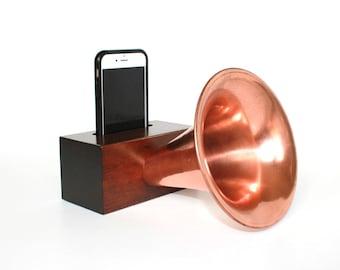 Edison Amp | Wood Gramophone Cell Phone Spaker | Cordless iPhone Speaker | Groomsmen Gift | Best Gift for Men | Gift for Husband, Boyfriend