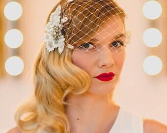 Persephone Vintage Diamante Brooch Birdcage Wedding Bridal Veil