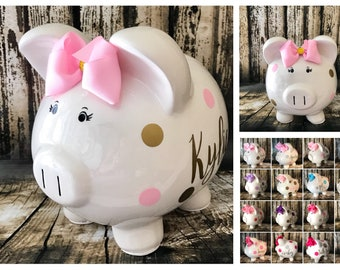 Extra Large Piggy Bank, Light Pink and Gold polka dot bank,piggy bank,piggy banks for girls,custom banks, baby's first piggy bank, baby gift