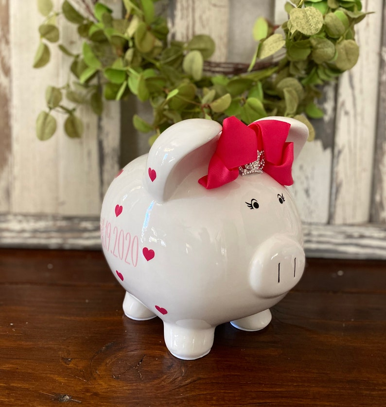 banks for girls custom piggy banks baby/'s first piggy bank Personalized piggy bank piggy bank birthday banks Hot Pink heart bank