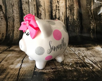 Personalized Small Pink and Glitter silver polka dots,piggy bank for girls,birthday banks,custom banks, baby's first bank, baby shower gift