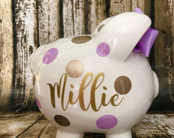 Large personalized piggy, Lavender and Gold glitter piggy bank, piggy bank for girls,birthday banks, baby's first piggy bank