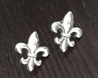 Little Silvertone Fleur de Lis Stud Earrings - Pierced Earrings - Cute - NOLA