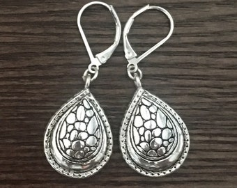 Teardrop Shimmery Silver Pendant Drop Earrings with Lever Back Closures - Nice Designer Look