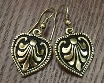 Burnished Gold Tone Etruscan Style Drop Earrings - Nice Detail and Dimension - Beaded Edging - Goes With Everything!