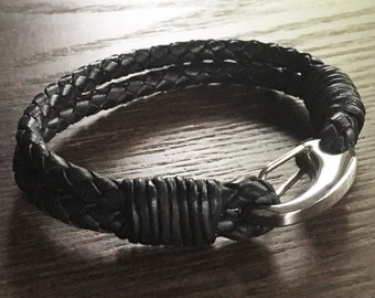 Black Braided Leather Bracelet with Carabiner Style Clip in Stainless Steel - 2 Wrist Sizes Available