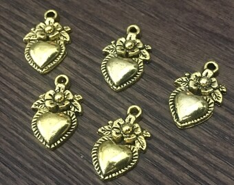 Cute Little Floral & Heart Drop Charms - Great for Your Next Project - Goldtone - Set of 12