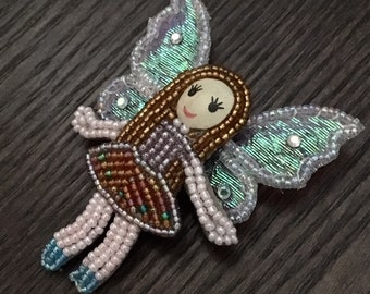 Beaded Fairy Pin with Wings - Colorful and Cute - Iridescent Colors