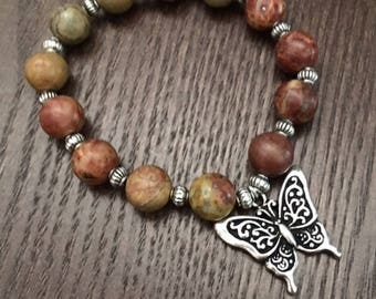 Jasper Bead & Butterfly Charm Bracelet - Earthy Tones and Cute Silver Butterfly Charm - Sized for 6.5 in Wrist