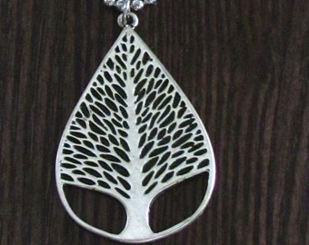 """Matte Silver Tree of Life Pendant with 20"""" Aluminum Ball Link Chain - Carved Details and Cut Through at the Bottom"""