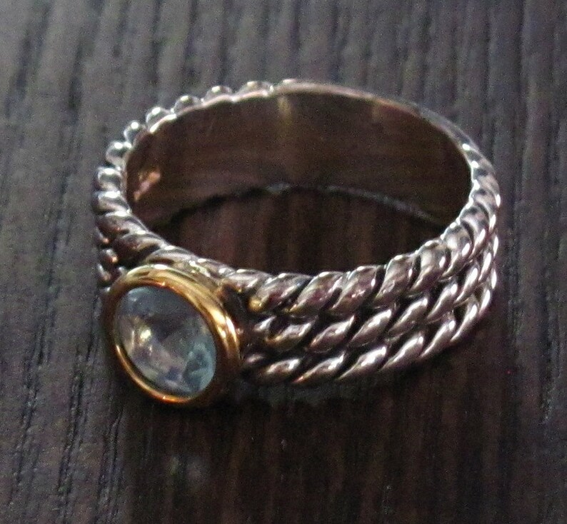 Only One Size Left Center Blue CZ Faceted Round Stone and Gold Vermeil Setting Sterling Silver 925 Stackable Ring Twisted Wire Band