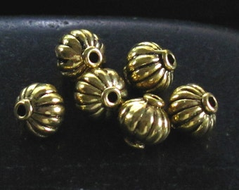 Goldtone Finish Pewter Fluted Puffy Round Spacer Beads - Jewelry Making Supplies - Nice Size and Detail - Set of 26