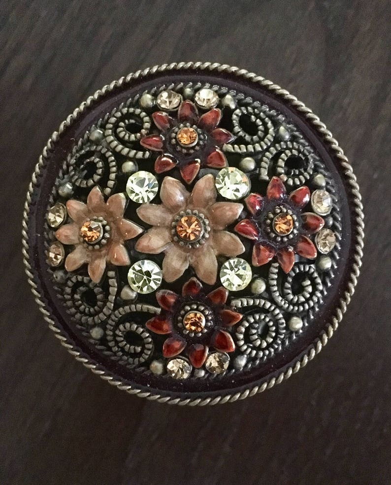 Ornate /& Crystal Embellished Metal Jewlery Trinket Box Painted Floral Accents Braided Accents and Trim Rich Colors