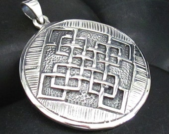 Chunky Casted Celtic Style Woven Patten Pendant Medallion in Sterling Silver .925 - Solid Piece - Etched and Casted Design