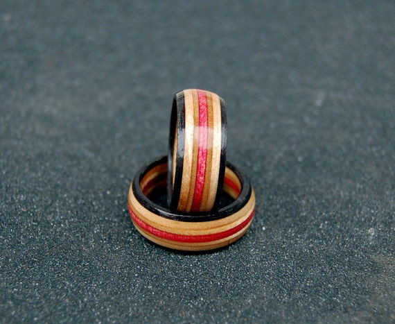 Birthday gift RED black natural recycled skateboard rings