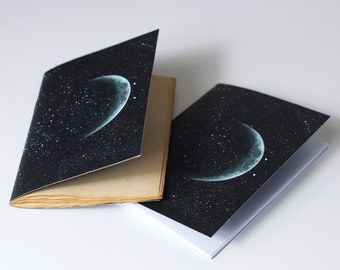 WAXING CRESCENT A6 A5 Pocket Notebook - Mini Journal - dyed paper - Astronomy - Stars - Galaxy Notebook - Universe Notebook - Space Notebook