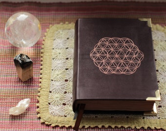Flower of life - Leather Book of shadows - Journal - Diary Notebook - Blank Book - Travel Journal  old dyed paper