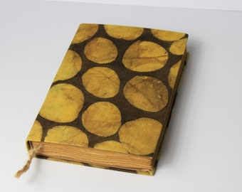 Dots Journal, diary, notebook, old paper, batik fabric, blank book, travel journal