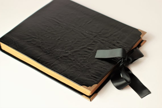 Black Leather Guest Book Album Blank Book Wedding Guest Etsy