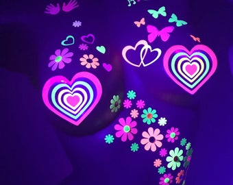 Heart Sticker Pasties, Neon Reflective Pink Heart Pasties, Valentine's Day, Girlfriend Gift, Blacklight, Stripper Clothes, Glow Pasties