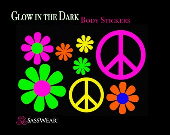 Hippy Glow-in-the Dark Body Stickers- Peace Sign, Daisy, EDC Rave Costume-Neon Daisies, Stripper clothes, Rave Stickers, Glow Art